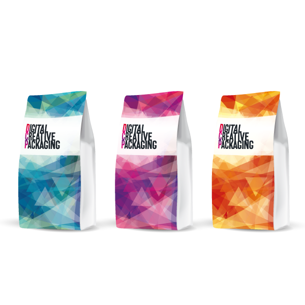 Repurposing & range extension shown with 3 different colours (blue, pink and orange) on DCP branded bags showing consistency